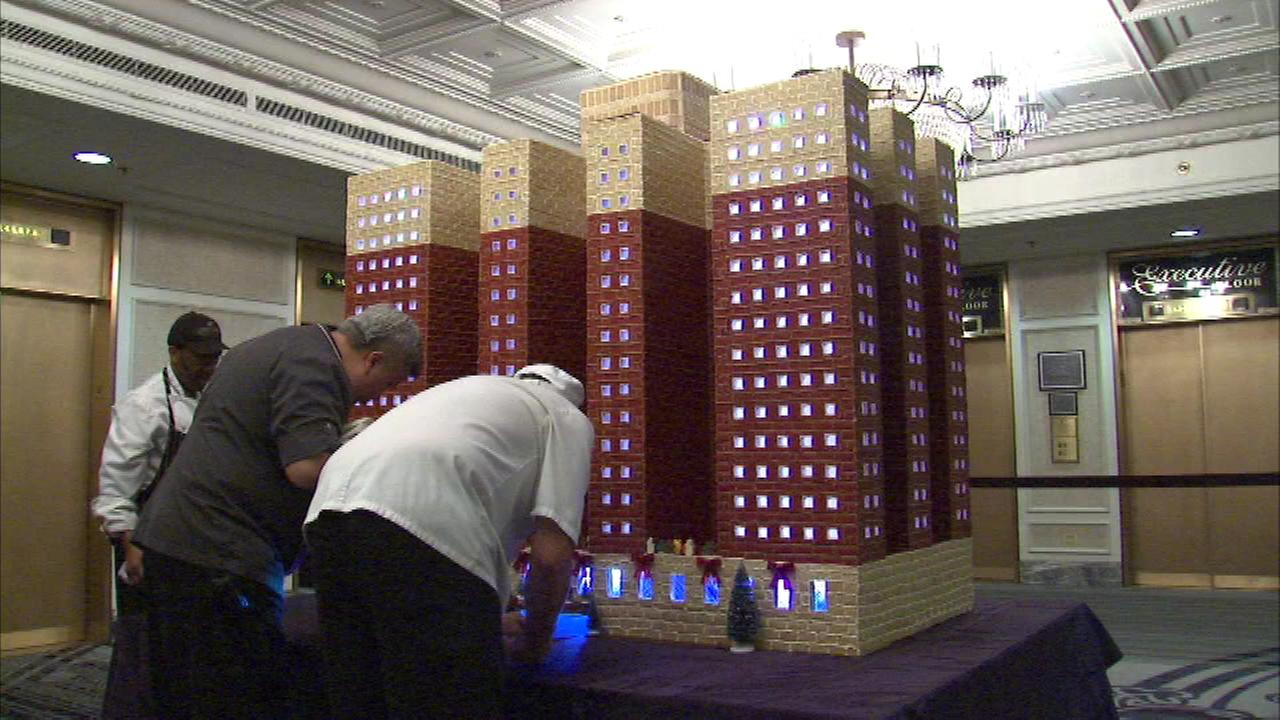 Chefs put the final touches on a sweet piece of the holidays at the Chicago Hilton.