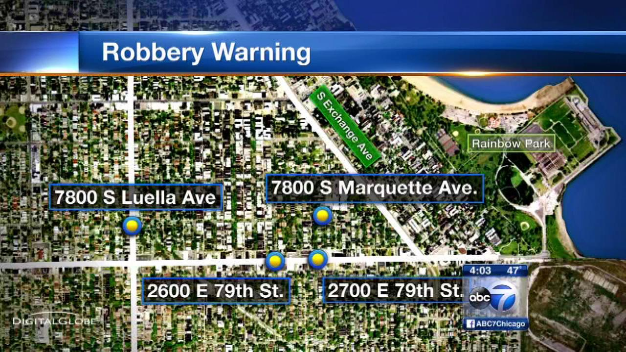 Chicago police issued an alert on December 4, 2015, after a string of robberies targeting women in the South Shore neighborhood.