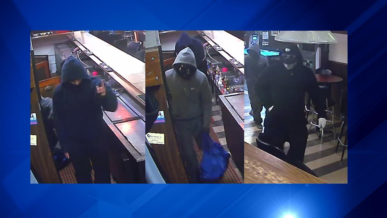 Aurora police released surveillance images of three suspects in a fatal armed robbery carried out Sunday night.