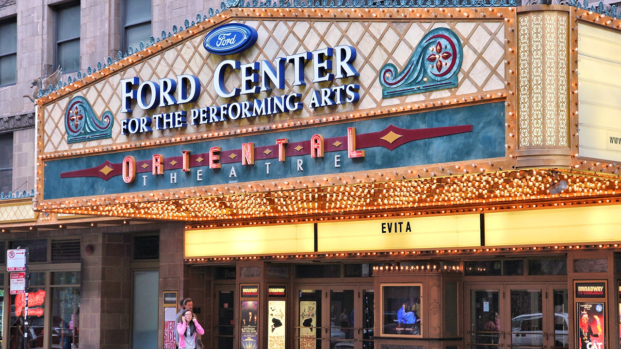 People visit Ford Center for the Performing Arts Oriental Theatre. Oriental Theatre was founded in 1926 and is a registered National Historic Place.