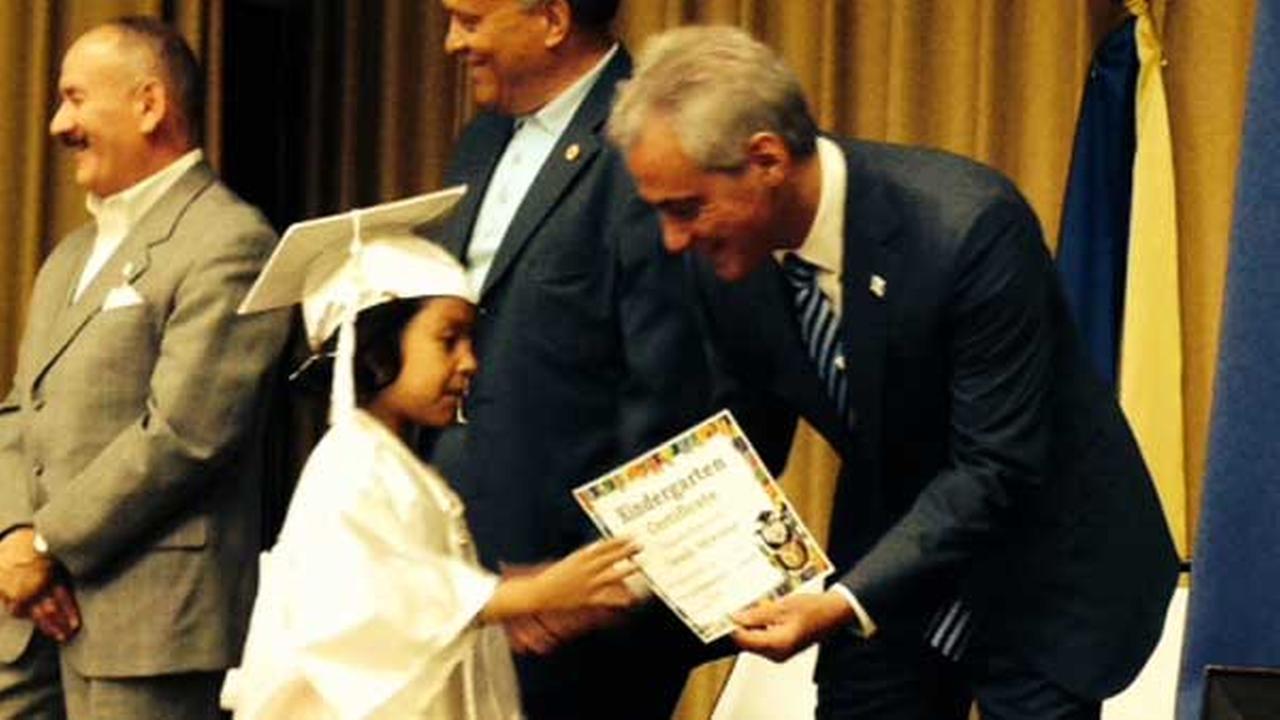 Mayor Emanuel attends kindergarten graduation at Mary Lyon Elementary School.
