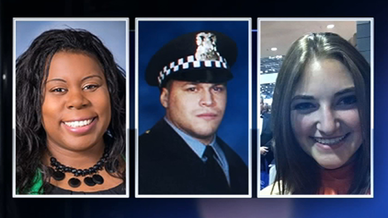 Victims of the Mercy Hospital shooting: (L-R) emergency room Dr. Tamara ONeal, Chicago police Officer Samuel Jimenez, and pharmacy resident Dayna Less.
