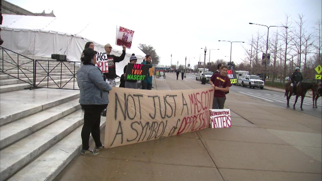 A group gathered before Sundays Chicago Bears game at the museum campus to protest the Washington Redskins mascot.