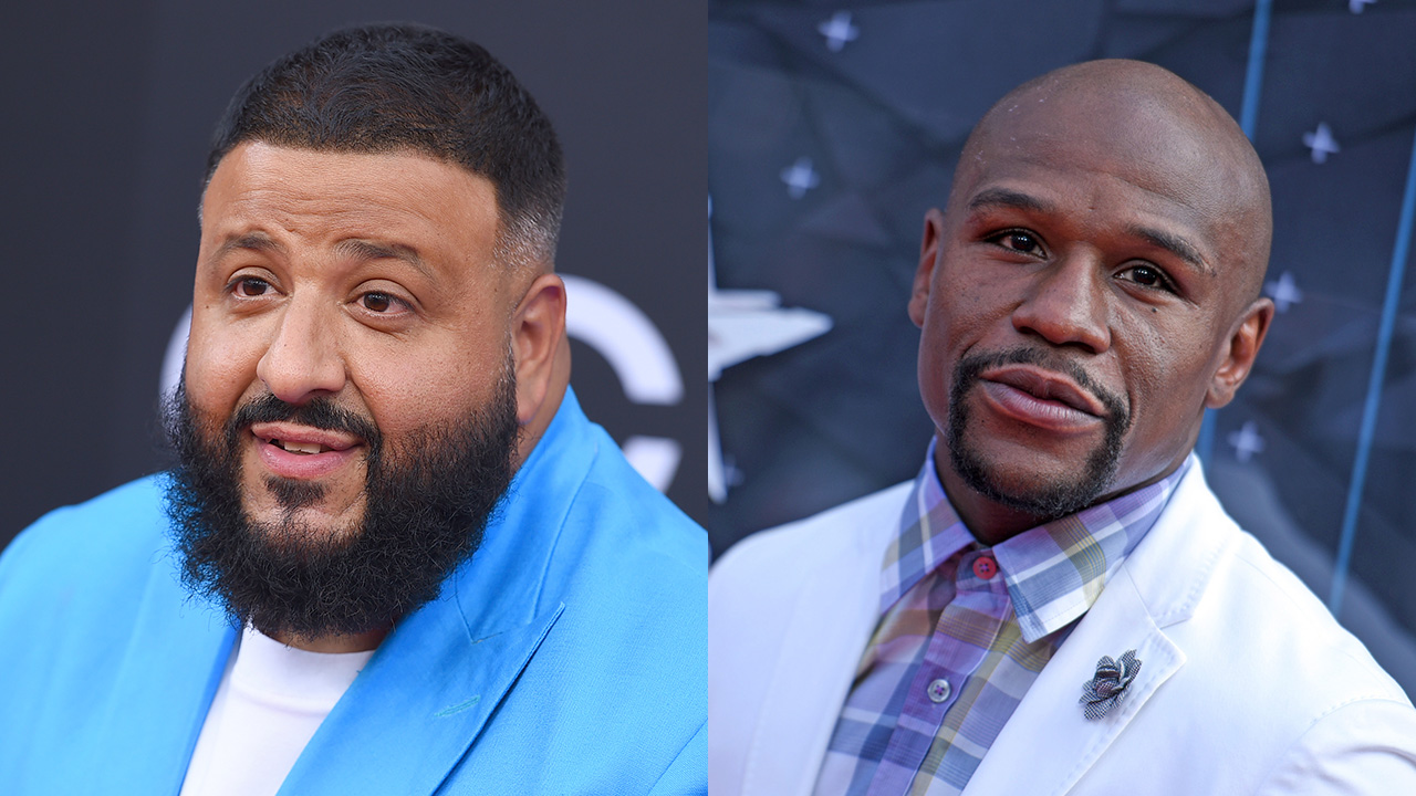 DJ Khaled arrives at the Billboard Music Awards on Sunday, May 20, 2018 (left). Floyd Mayweather, Jr. arrives at the BET Awards on Sunday, June 28, 2015.
