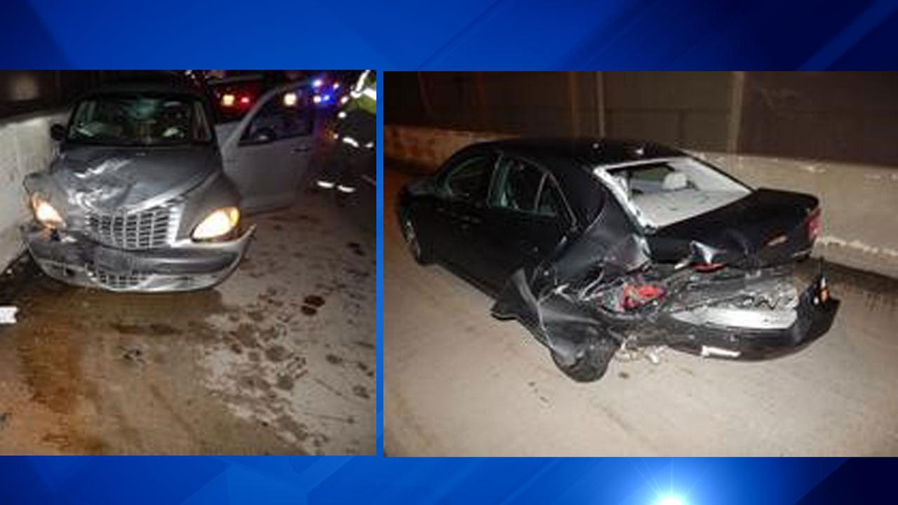 A 2001 Chrysler PT Cruiser (left) crashed into the back of a 2015 Chevrolet Malibu (right) on I-80/94 in northwest Indiana Wednesday evening.