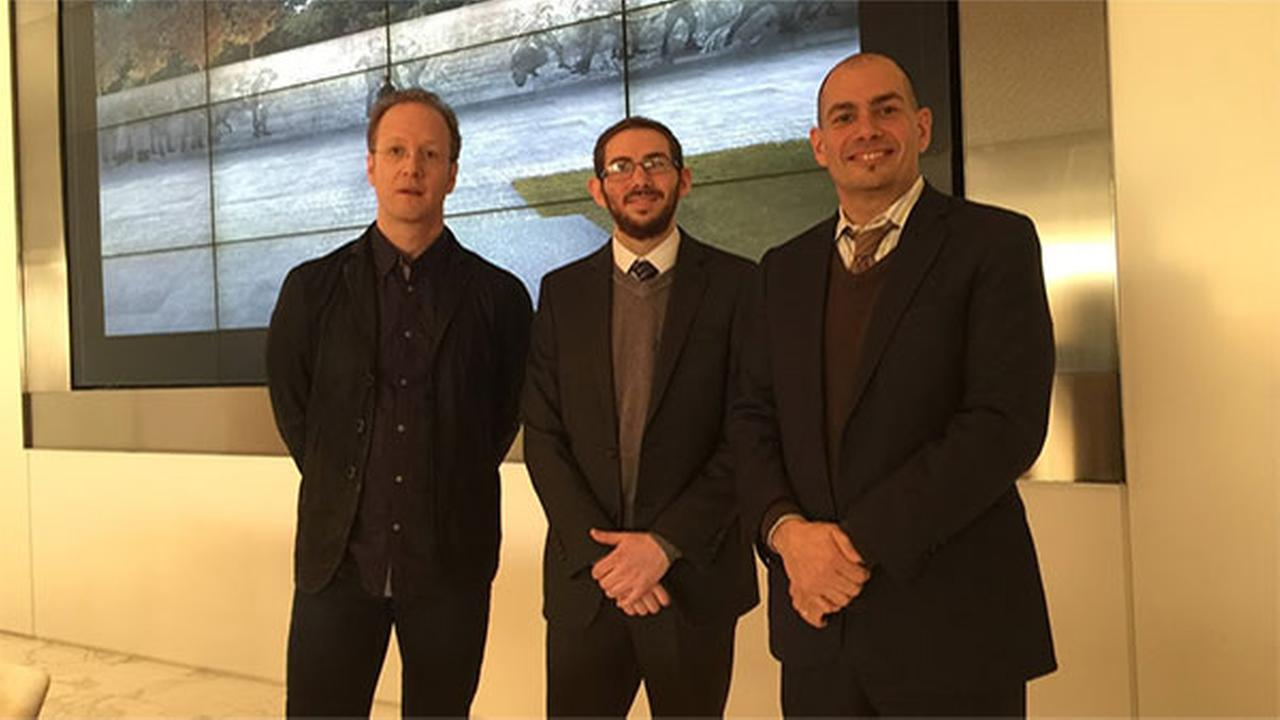 Architect-in-training Joseph Weishaar (center), pictured with sculptor Sabin Hunter (left), has been selected as the designer of the WWI Memorial in Washington DC.