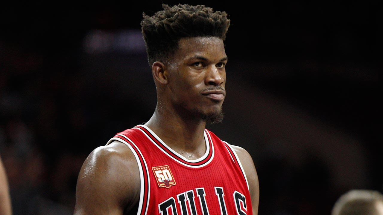 Chicago Bulls Jimmy Butler looks on during the second half of an NBA basketball game against the Philadelphia 76ers on Jan. 14, 2016, in Philadelphia.