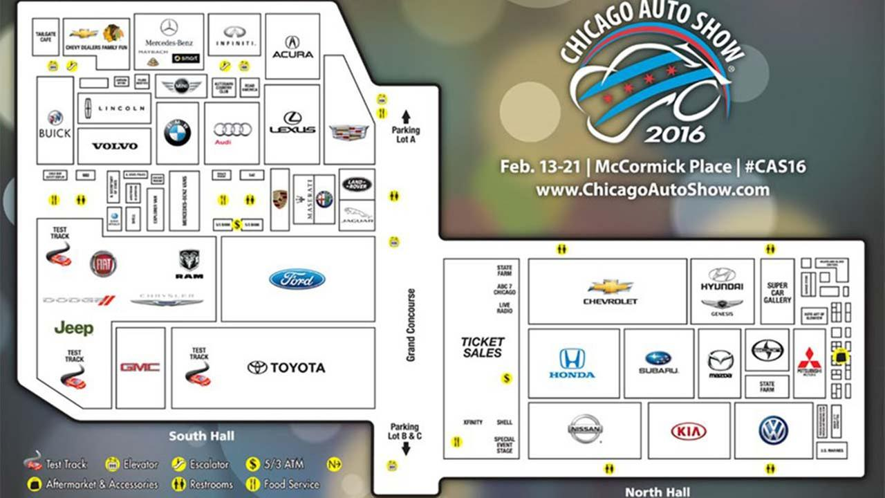 The floor map for the 2016 Chicago Auto Show at McCormick Place.