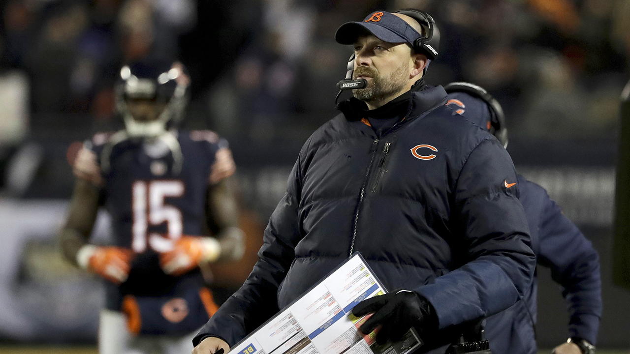Chicago Bears head coach Matt Nagy watches the scoreboard during the first half of an NFL football game against the Los Angeles Rams Sunday, Dec. 9, 2018, in Chicago.
