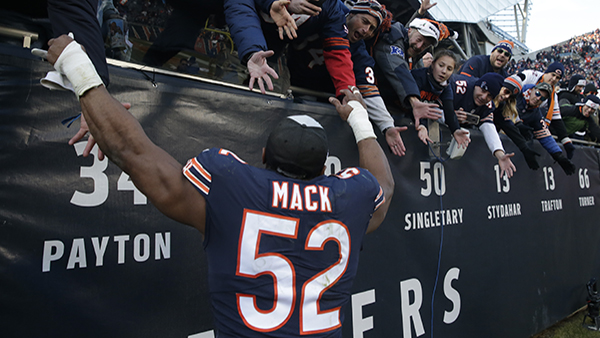 Chicago Bears outside linebacker Khalil Mack (52) celebrates with the fans after an NFL football game Sunday, Dec. 16, 2018, in Chicago. The Bears won 24-17.