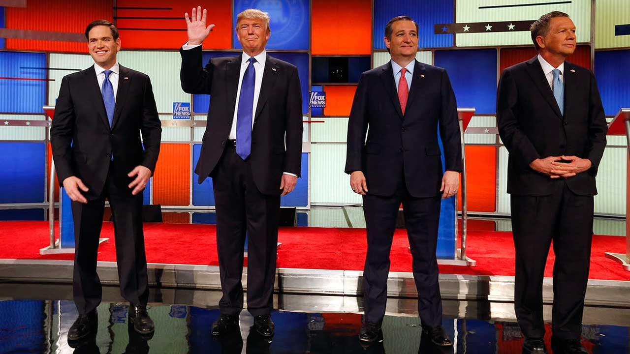 Republican presidential candidates, Sen. Marco Rubio, R-Fla., businessman Donald Trump, Sen. Ted Cruz, R-Texas, and Ohio Gov. John Kasich on March 3, 2016, in Detroit.