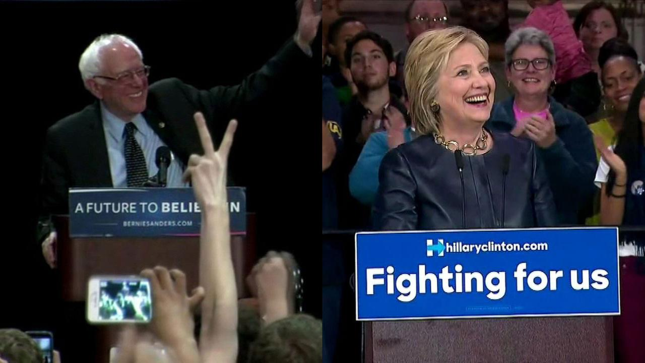 Bernie Sanders, left. Hillary Clinton, right.