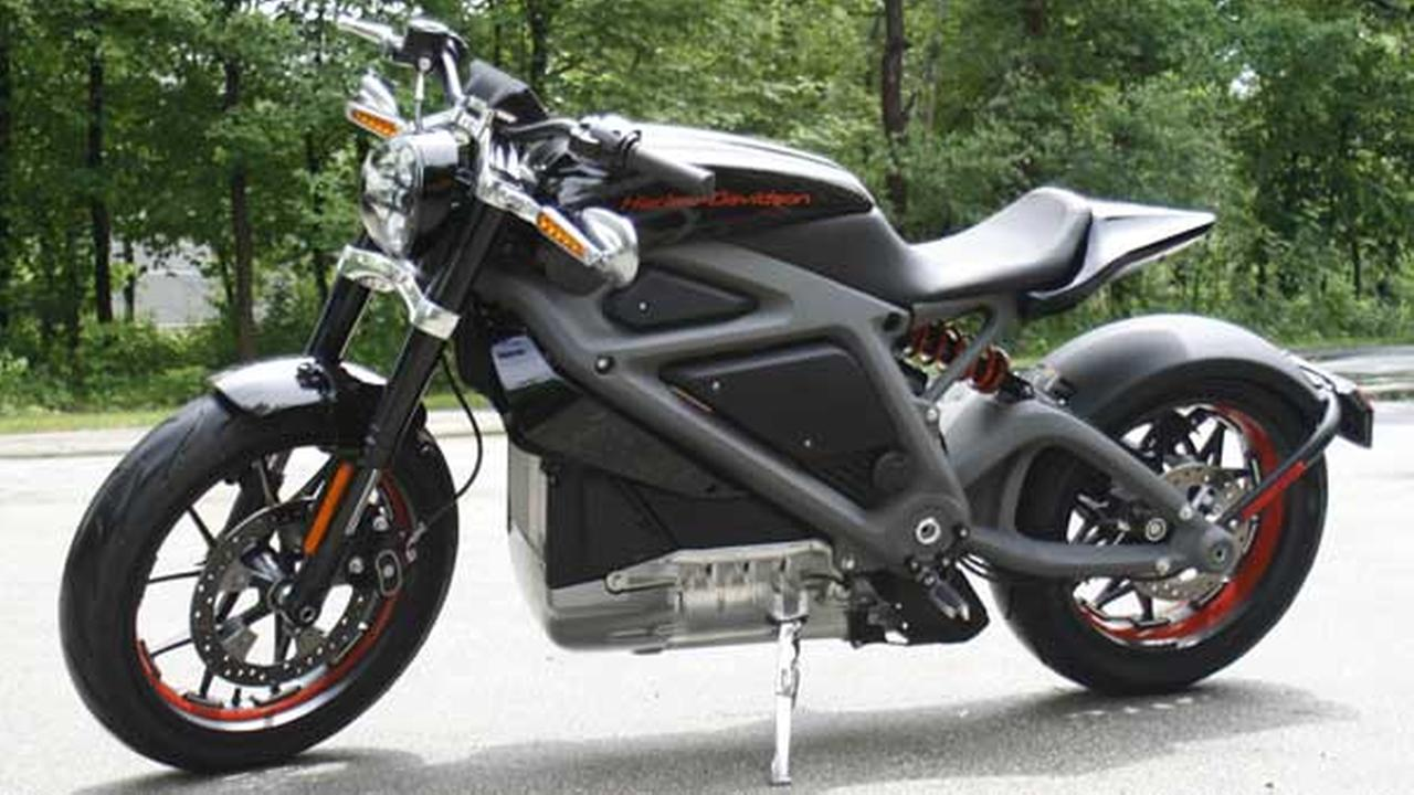 This June 18, 2014, photo shows Harley-Davidsons new electric motorcycle at the companys research facility in Wauwatosa, Wis.