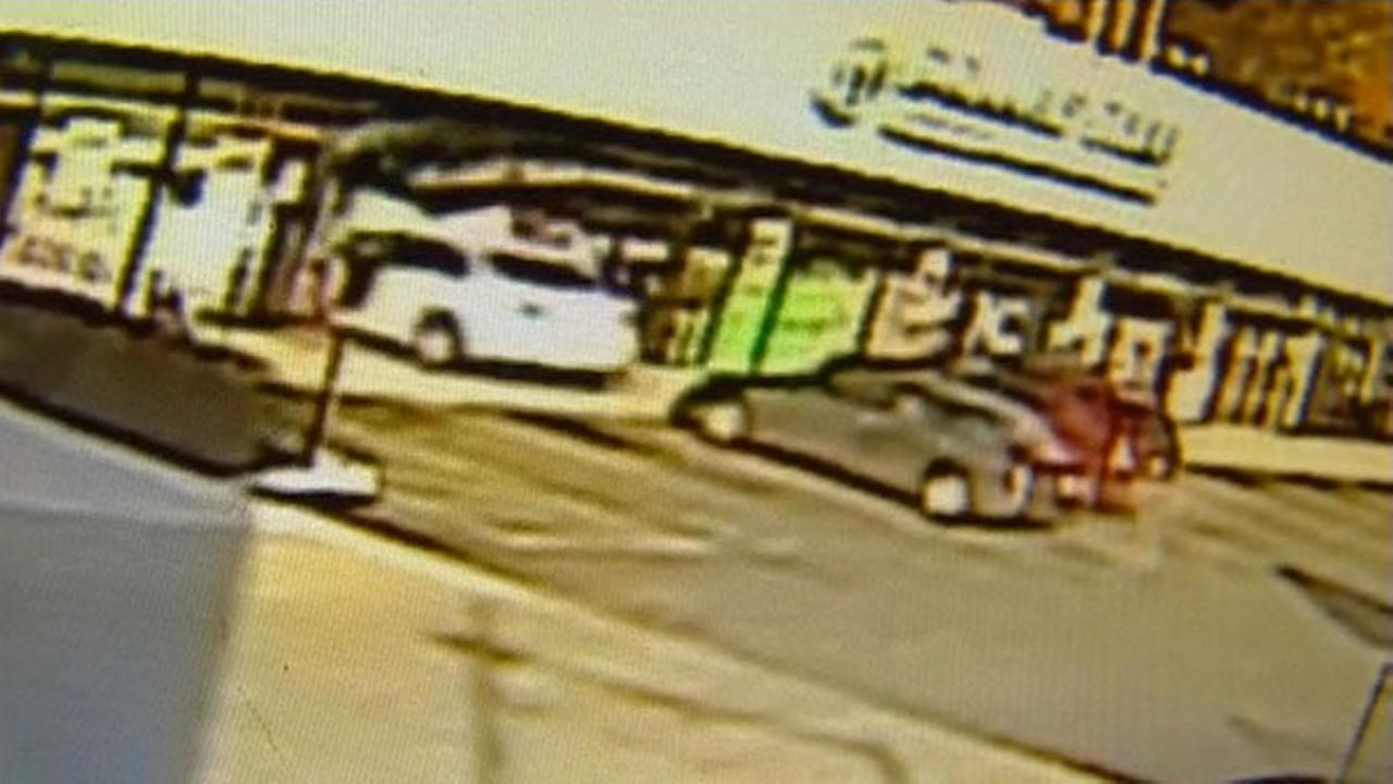 Surveillance footage shows a car driving into a Dollar Tree store in the Portage Park neighborhood Saturday morning.