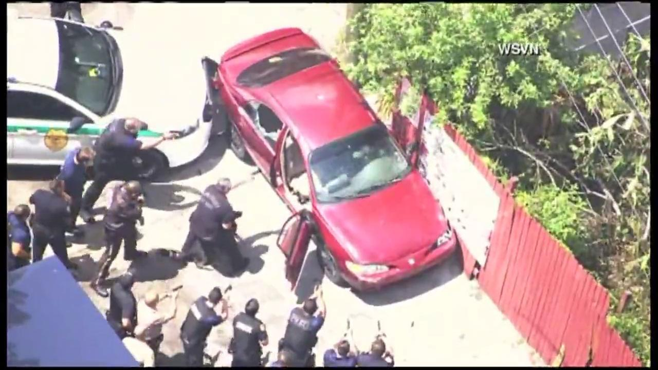 A wild car chase almost came a tragic ending in Miami.