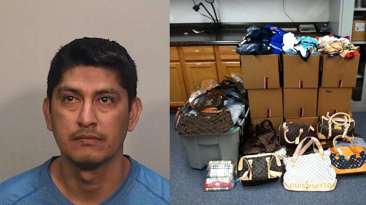 Felipe Aparicio-Nolasco, 43, of Ingleside (left). Some of the counterfeit goods that he is accused of selling (right).