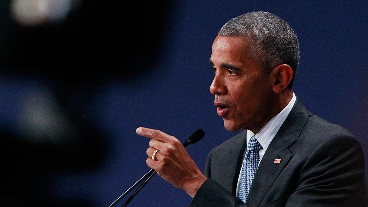 U.S. President Barack Obama speaks during a news conference at PGE National Stadium in Warsaw, Poland.
