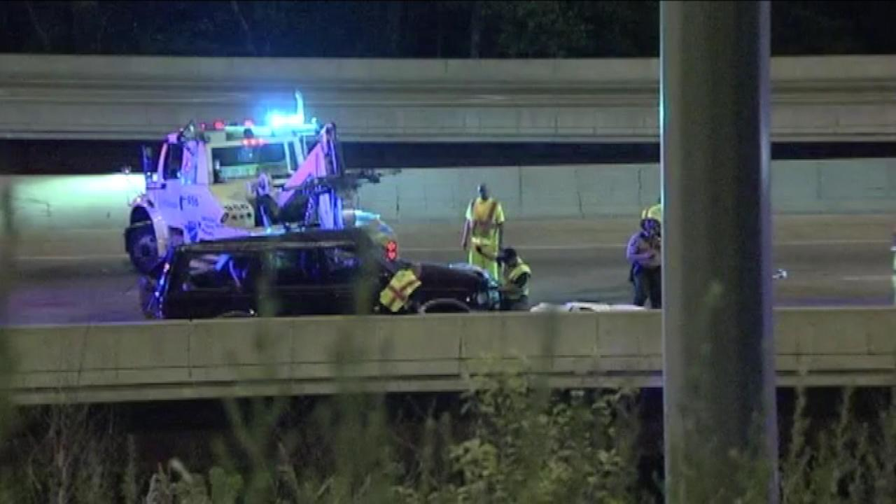 A woman was killed after losing control of her SUV and hitting a median on the Bishop Ford.