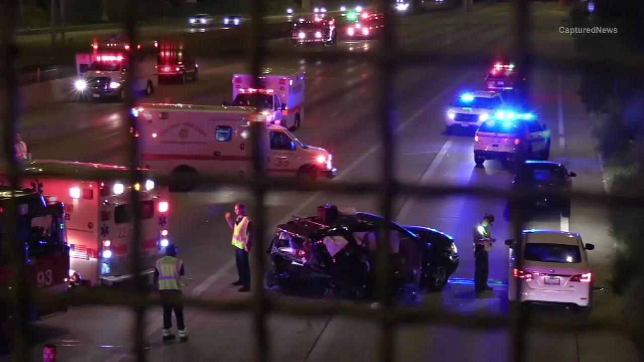 Police investigate a crash on the Dan Ryan Expressway early Tuesday morning.
