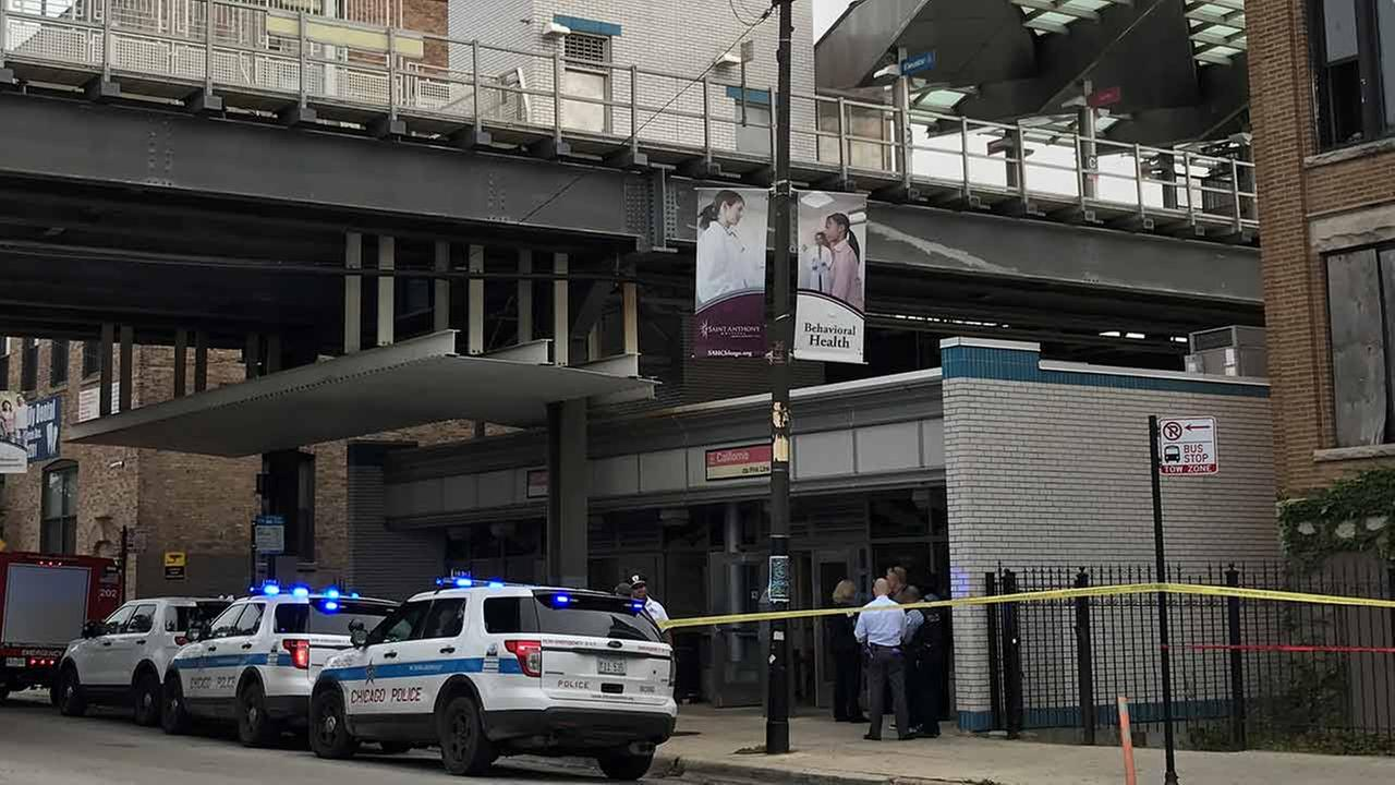 Chicago police investigate at California stop on the CTA Pink Line after a fatal shooting.