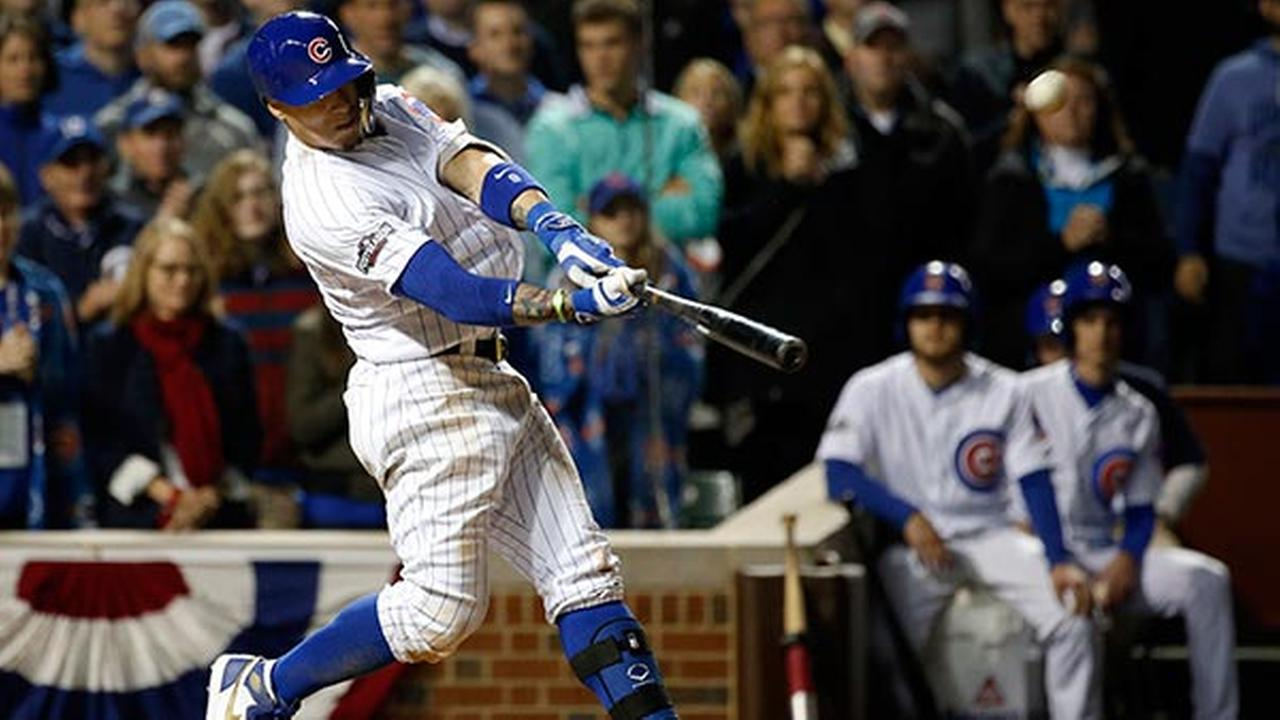 Chicago Cubs Javier Baez (9) hits a home run in the eighth inning of Game 1 of baseballs National League Division Series against the San Francisco Giants, Friday, Oct. 7, 2016,.