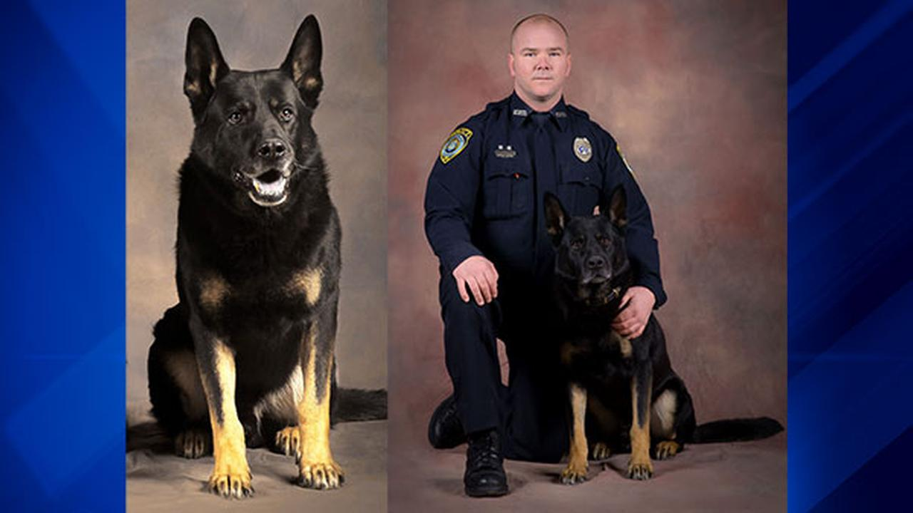 Brinx, left, and with his partner and handler Sgt. Arthur Ray Lanz, right.