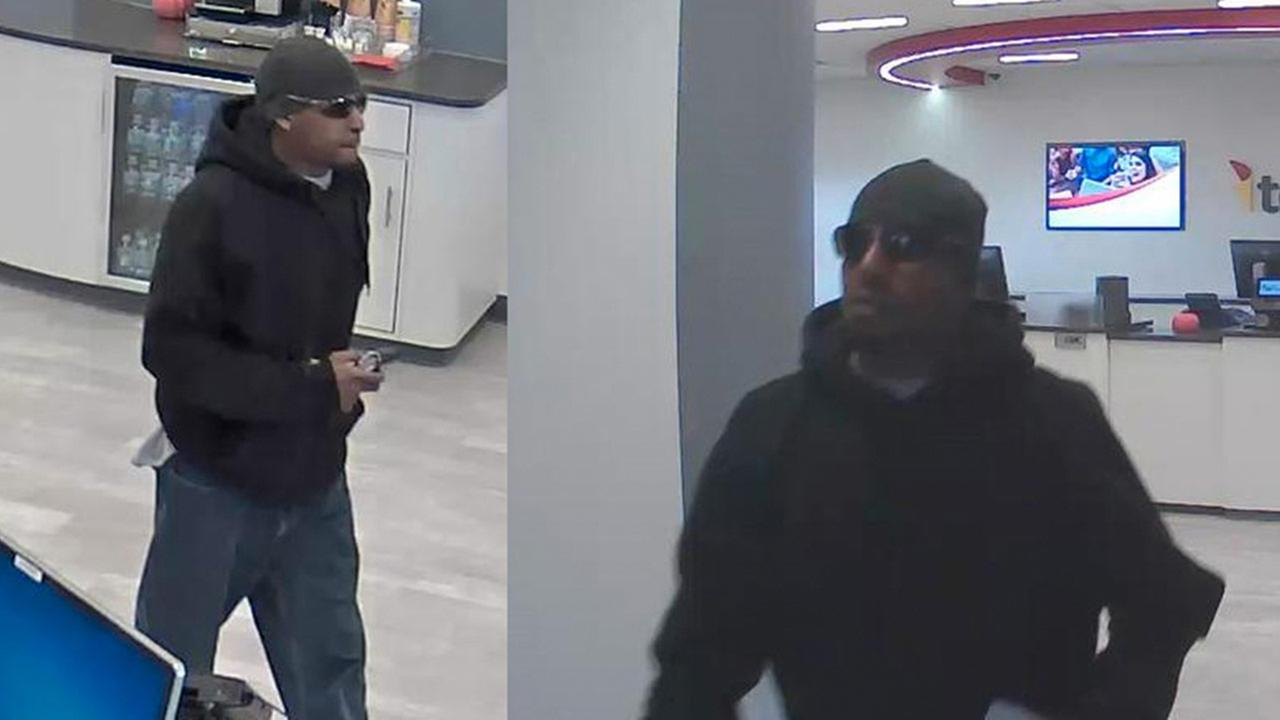 Surveillance photos of the an suspected of robbing a TCF Bank branch Saturday morning in Lombard.