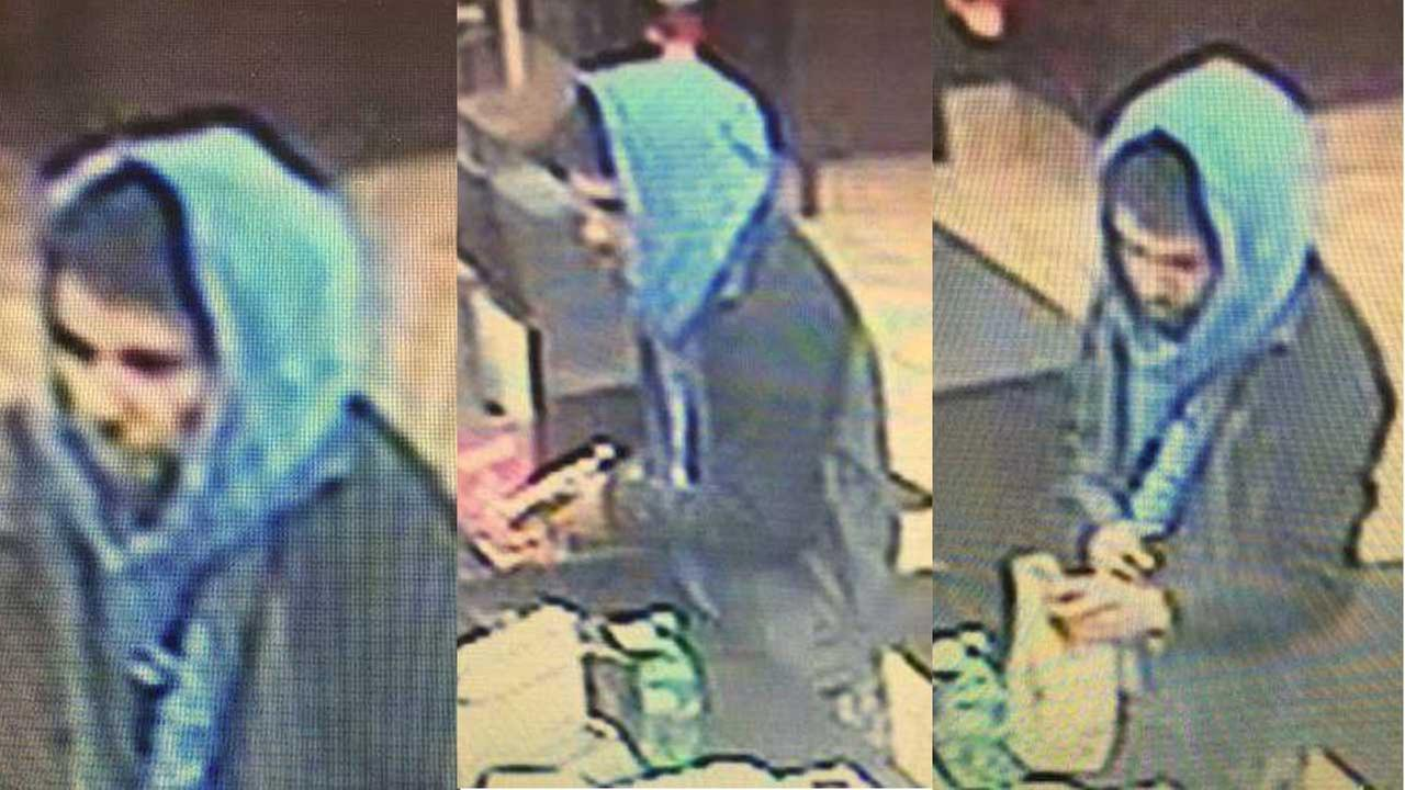 Surveillance images of a suspect wanted in connection with a robbery at a Hinsdale Dunkin Donuts.