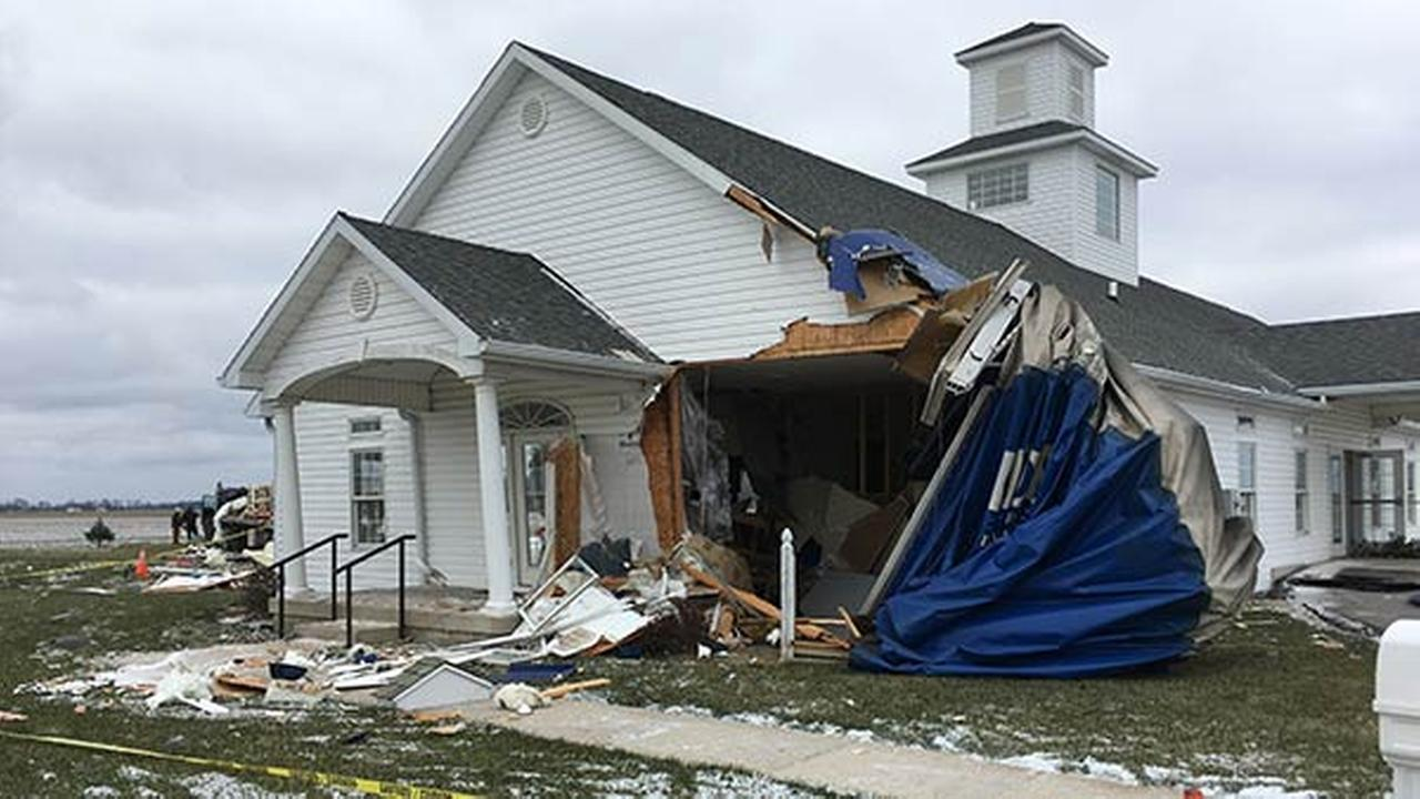 Indiana State Police said a semi pulling a flatbed trailer crashed through the Living Hope Church in Delaware County after the driver choked on a cough drop.
