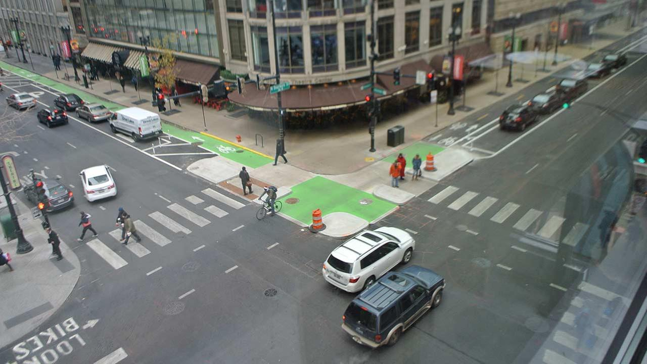 The city announced the completion of transportation projects on Randolph Street.