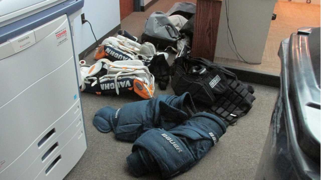 Hockey equipment found strewn on Oswego road