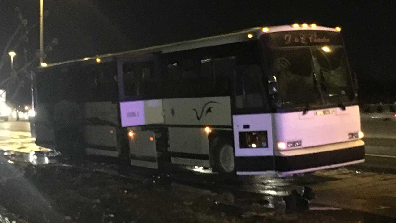 Bus catches fire on Bishop Ford