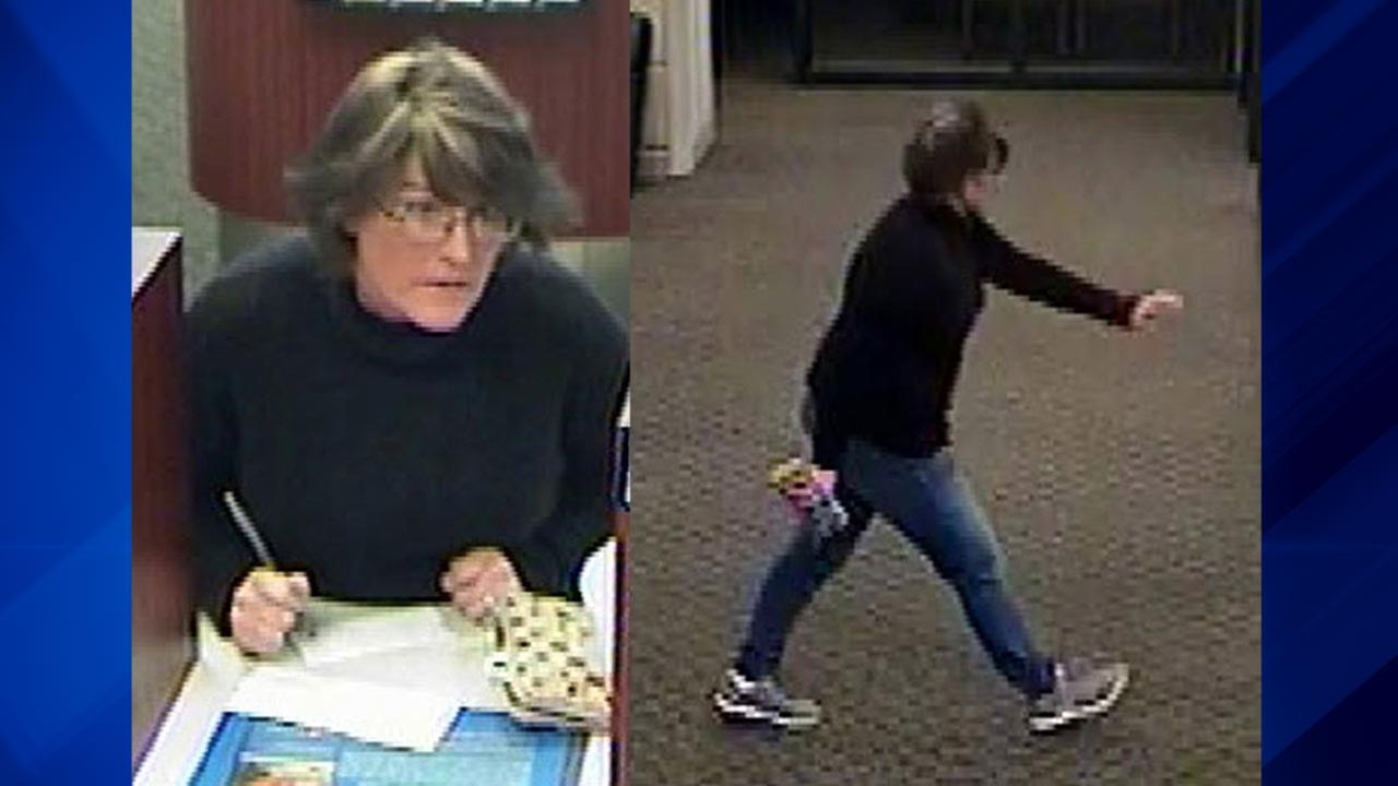 Surveillance images of a woman suspected of stealing a purse and stealing from the victims bank account.