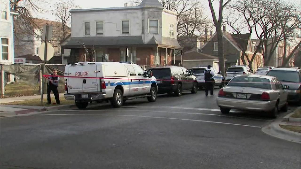 Police respond to a barricade situation in the Little Village neighborhood Monday morning.