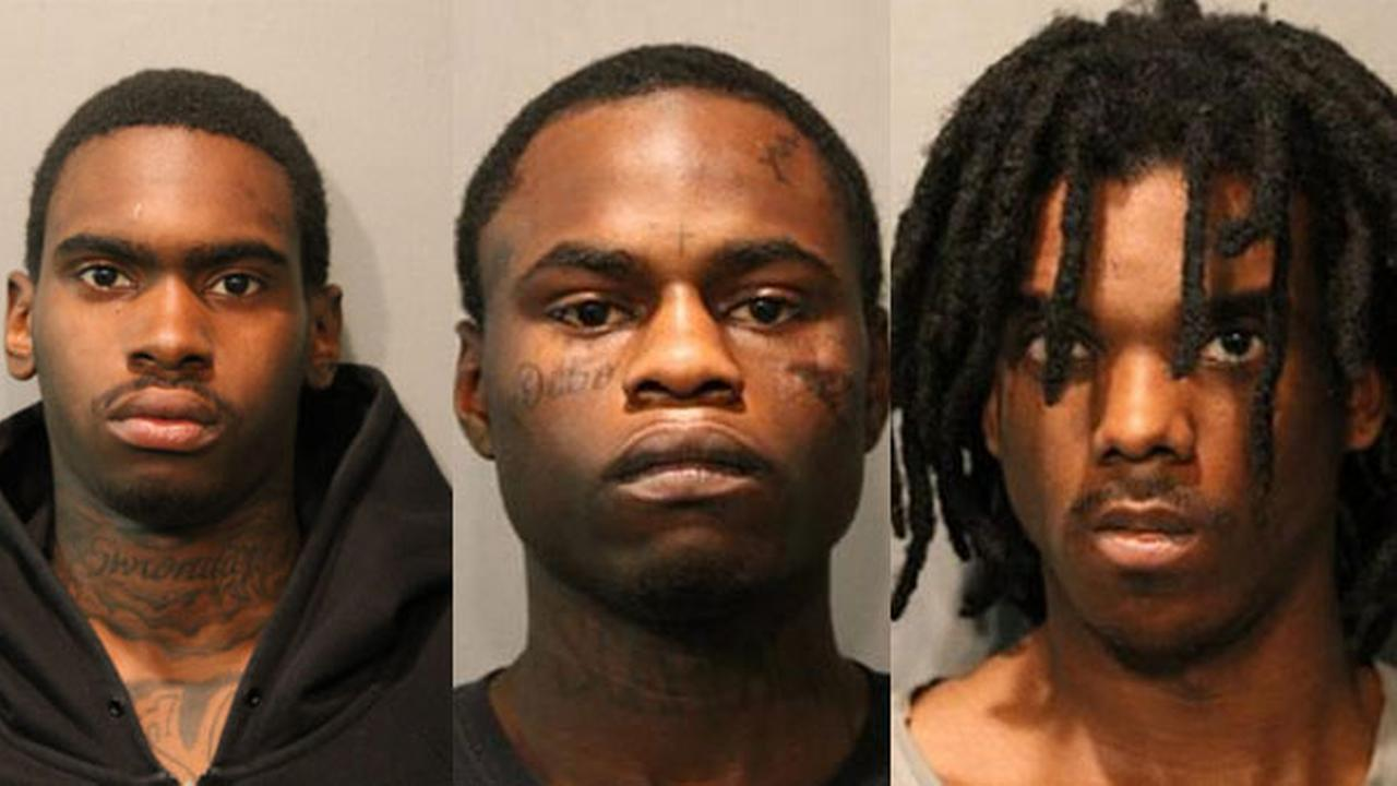 Jeremy Ellis (left), Dionel Harris (center) and Devon Swan (right) are charged with murder in the shooting that killed 2-year-old Lavontay White.