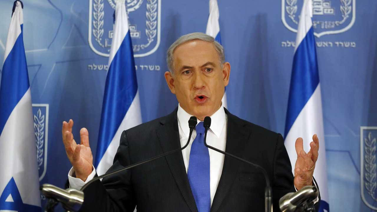 Israeli Prime Minister Benjamin Netanyahu at a press conference at the defense ministry in the Israeli coastal city of Tel Aviv on Friday, July 11, 2014