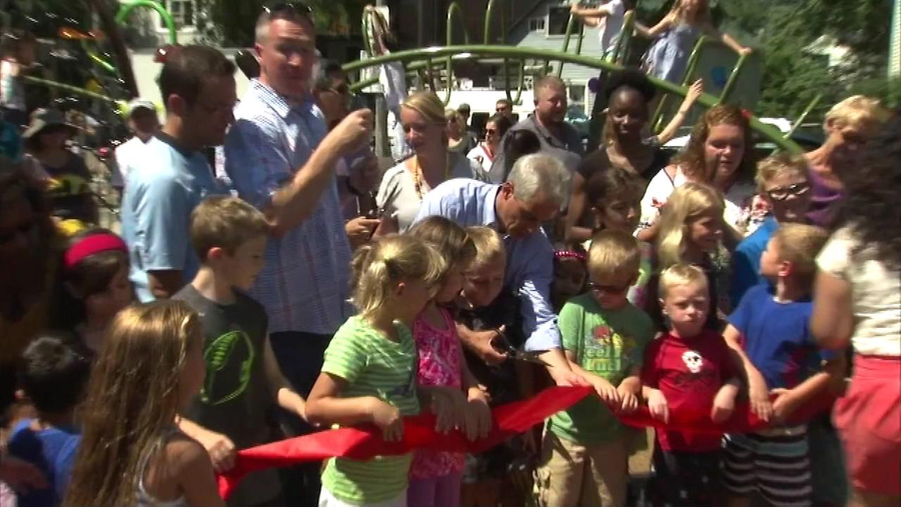 Mayor Rahm Emanuel officially re-opened a newly renovated park on Chicagos Northwest Side Sunday when he cut the ribbon on the new Lucy Flower Park.