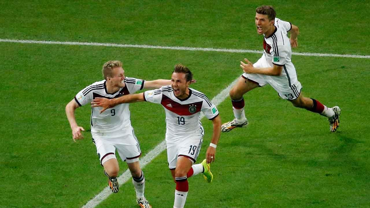 Germanys Mario Goetze, celebrates scoring his sides first goal during the World Cup final soccer match between Germany and Argentina at the Maracana Stadium in Brazil.
