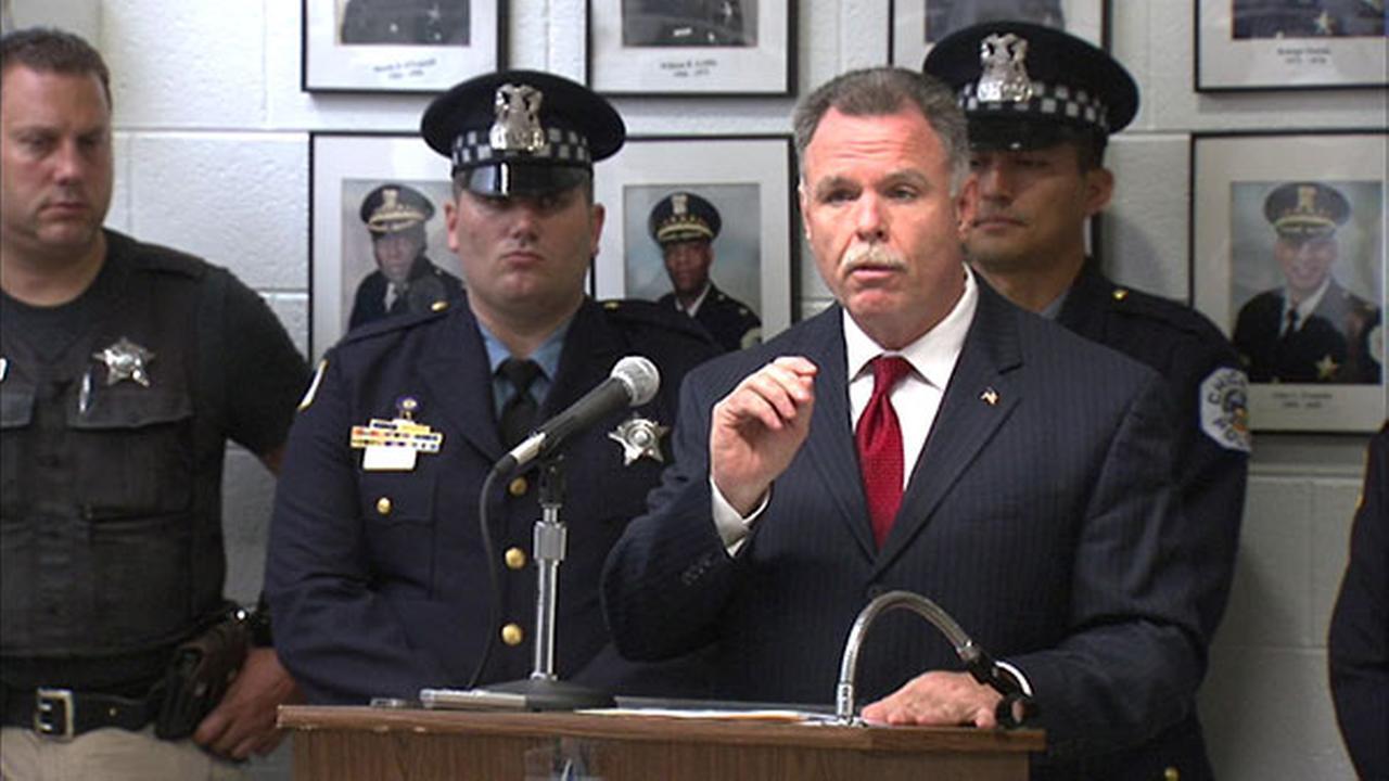 Chicago Police Superintendent Garry McCarthy speaks to the press about gun seizures so far in 2014.