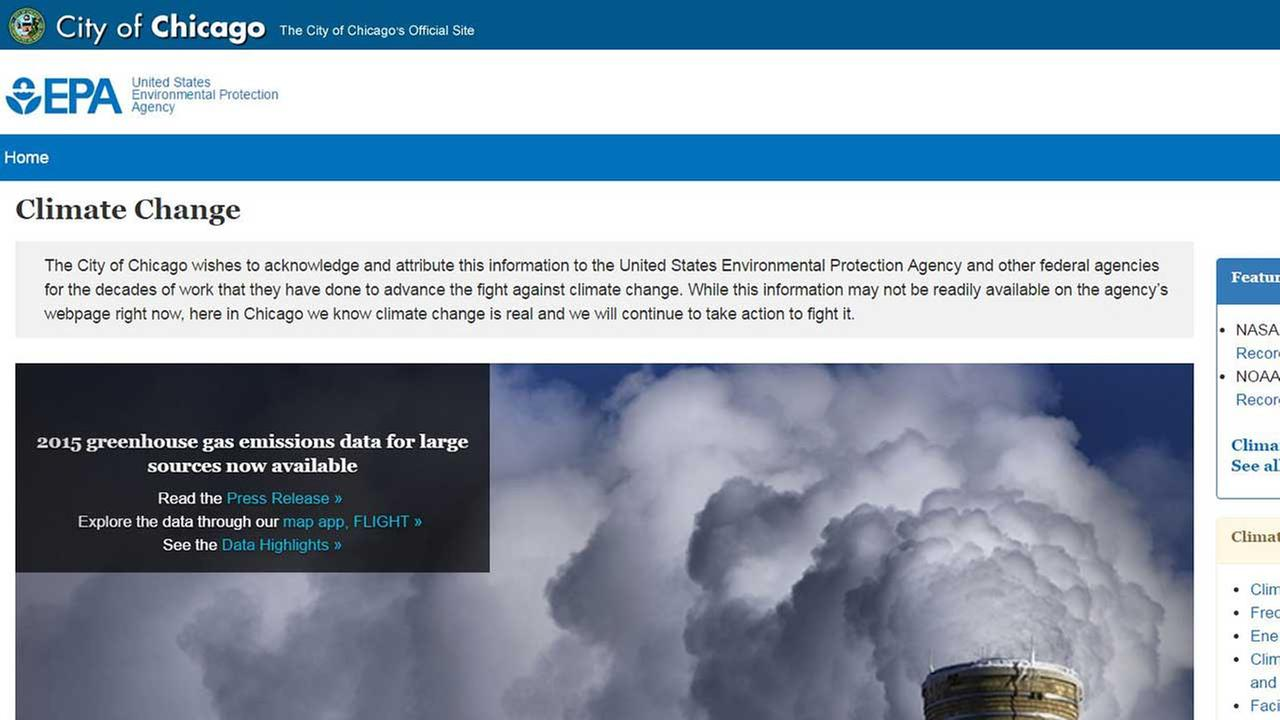 Chicago posts deleted EPA climate change information on its website