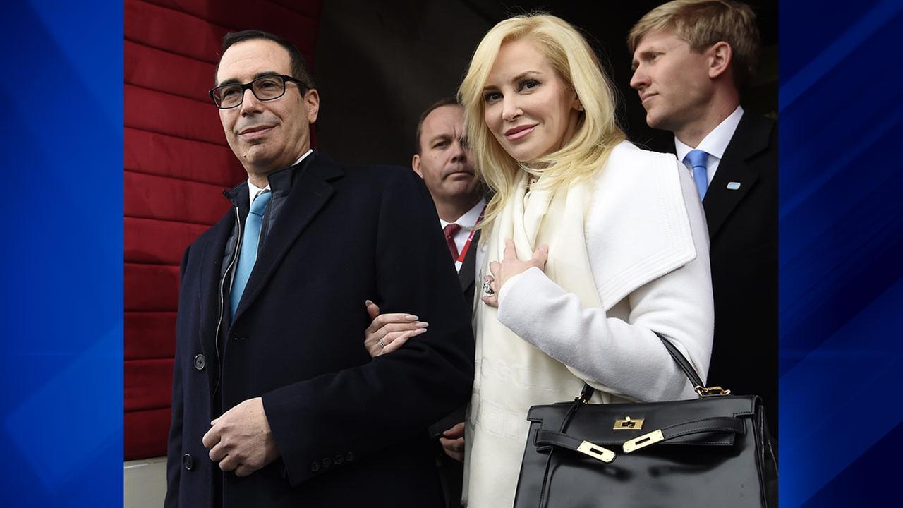 Treasury Secretary Stephen Mnuchin and his fiancee, Louise Linton