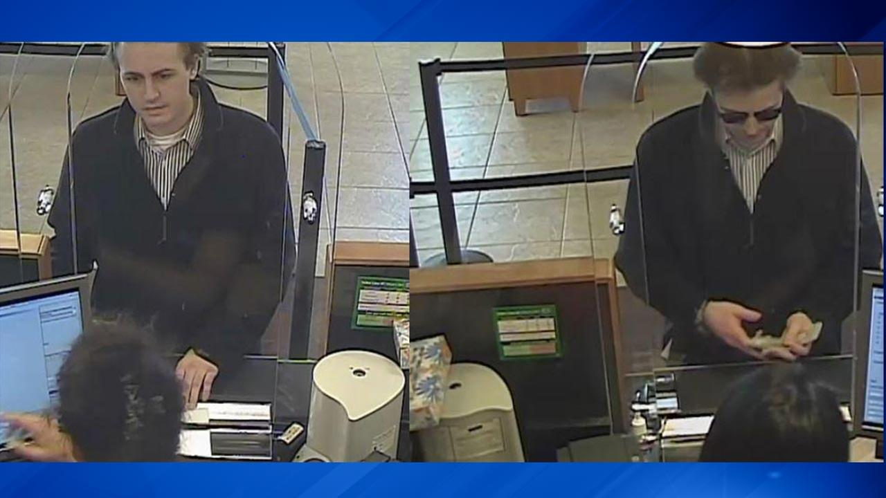 Surveillance images of a suspect in a bank robbery in Buffalo Grove.