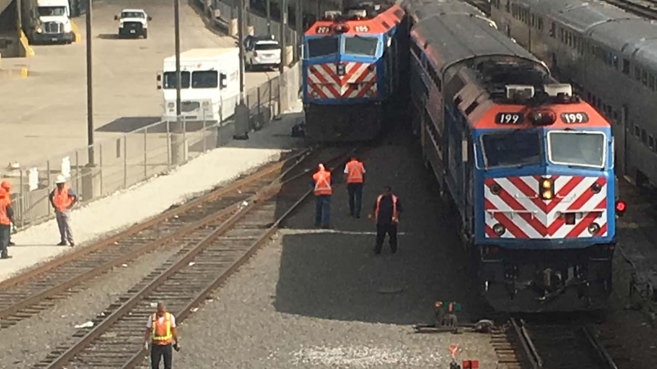A Metra employee was injured after a train derailment in a rail yard near Roosevelt Road and Canal Street.