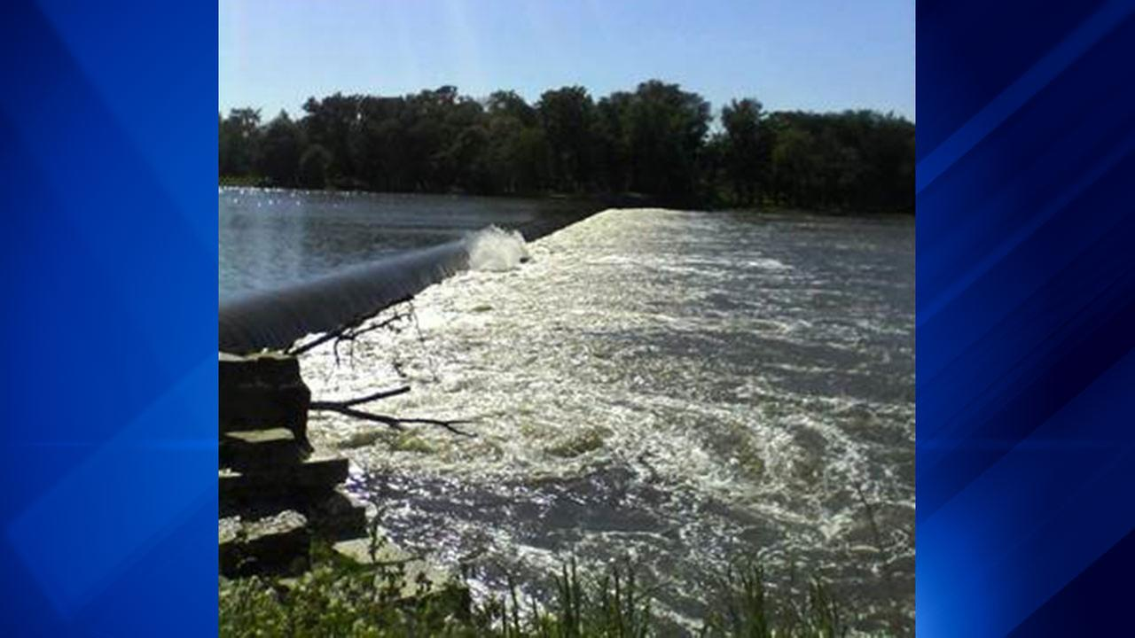 A dam along the Kankakee River in Wilmington, Ill.