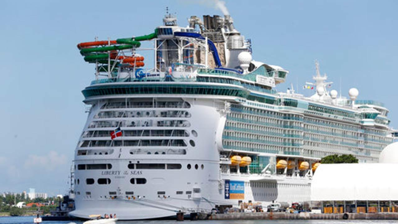 The Royal Caribbean International cruise ship Liberty of the Seas is docked, Tuesday, Aug. 29, 2017, at PortMiami in Miami.