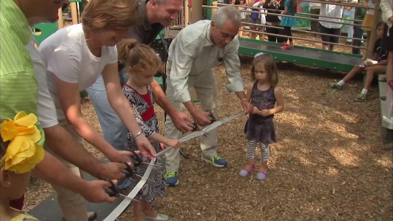 Mayor Rahm Emanuel helped cut the ribbon on the new Brynford Playlot Sunday.