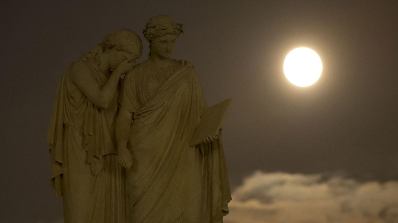 A perigee full moon or supermoon is seen over the the Peace Monument on the grounds of the United States Capitol, Sunday, Aug. 10, 2014, in Washington