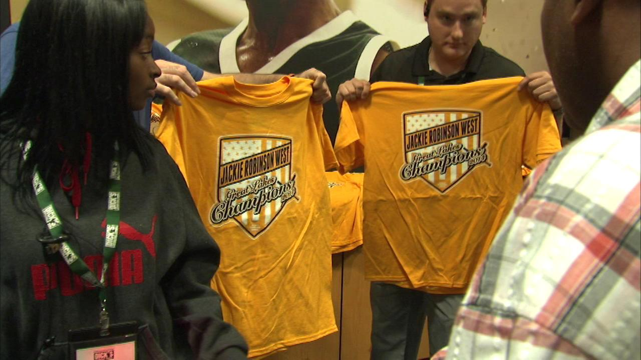 There were long lines outside the Dicks Sporting Goods store in the South Loop Saturday as fans were trying to get their hands on custom t-shirts to support the Jackie Robinson We
