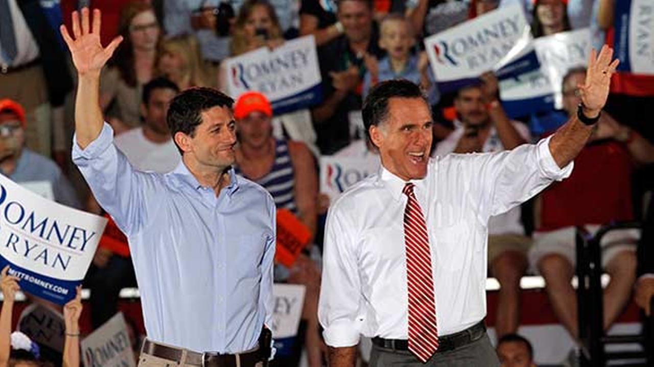 Republican presidential candidate former Massachusetts Gov. Mitt Romney and his running mate Rep. Paul Ryan, R-Wis., in Fishersville, Va., Thursday Oct. 4, 2012.