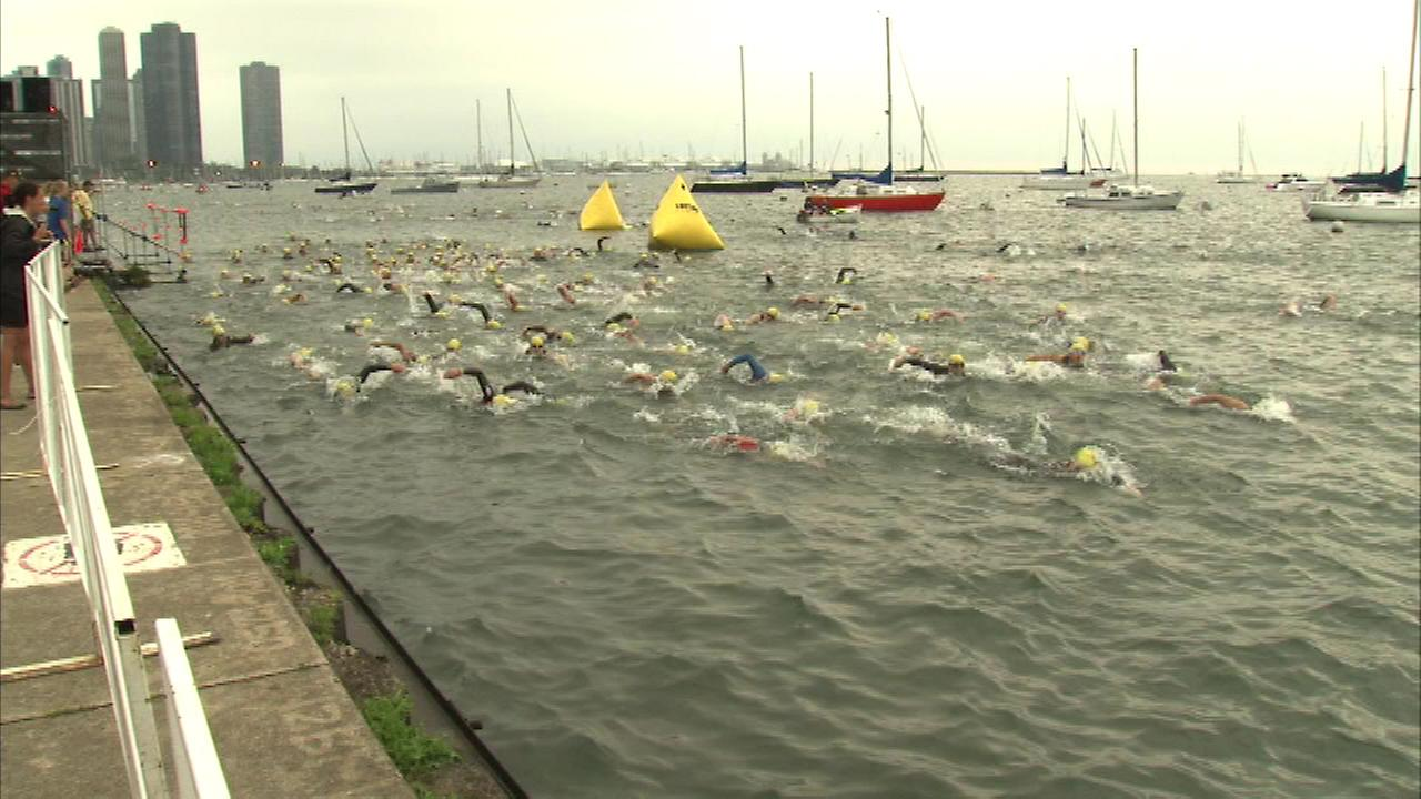 More than 9,000 athletes took part in the Chicago Triathlon on Sunday, August 24, 2014.